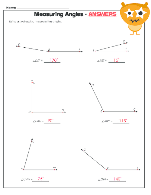 Printables Measuring Angles Worksheet Answers measuring angles worksheet kidspressmagazine com get it now