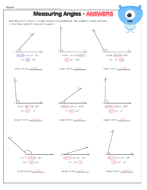 Printables Measuring Angles Worksheet Answers measuring angles worksheet 2 kidspressmagazine com get it now