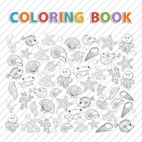 sea creatures coloring page. Black Bedroom Furniture Sets. Home Design Ideas