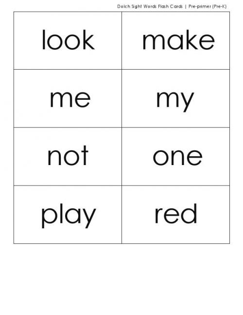 dolch sight words pdf pre primer