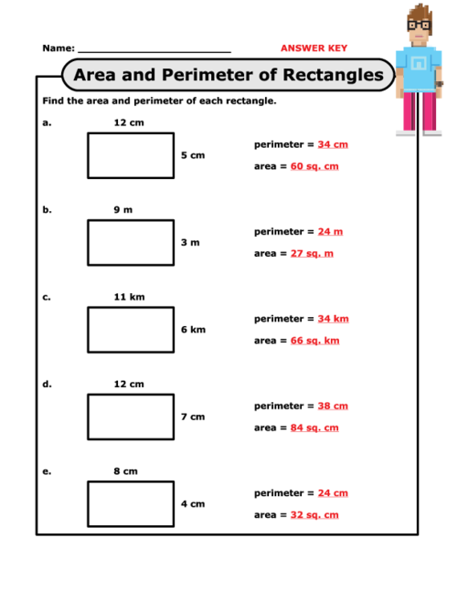 Area of rectangles worksheet grade 5