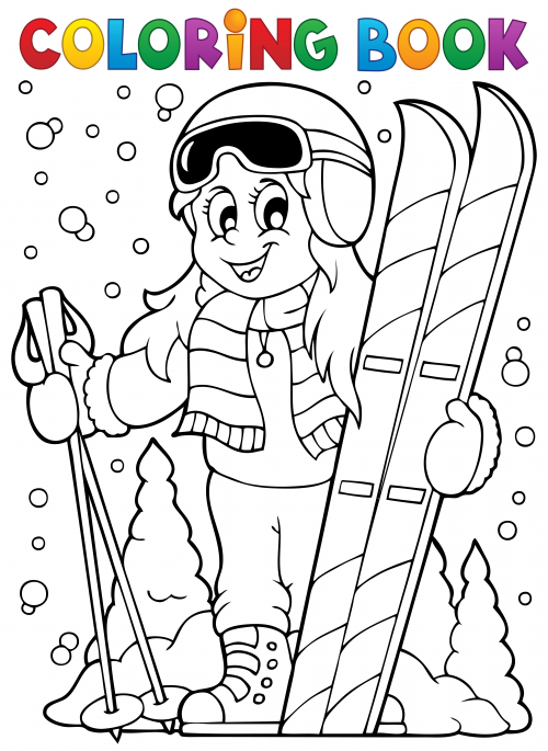 bears skiing coloring pages - photo#13