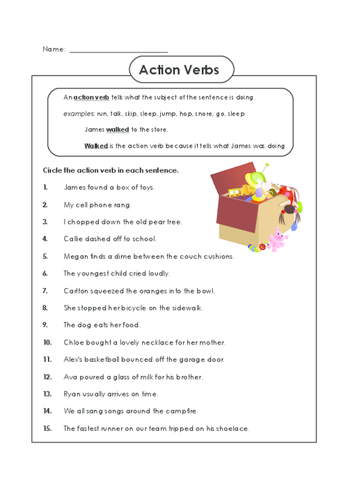 94 WORKSHEETS FOR KIDS- ACTION VERBS