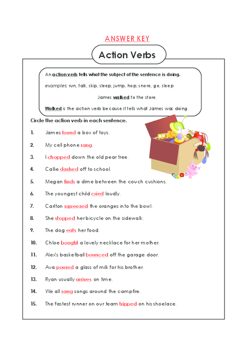 Action Verb Worksheets Fourth Grade - action verbs grade 3 ...