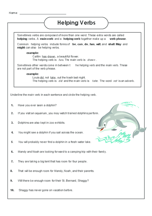 Helping Verbs Worksheet 3 - KidsPressMagazine.com