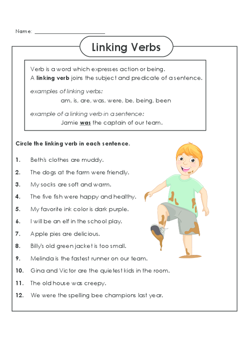 Action and linking verbs worksheet 5th grade