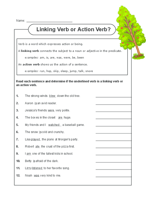 Action and linking verbs worksheet for grade 3