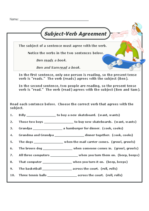 Worksheets Subject Verb Agreement Worksheets 3rd Grade subject verb agreement kidspressmagazine com get it now