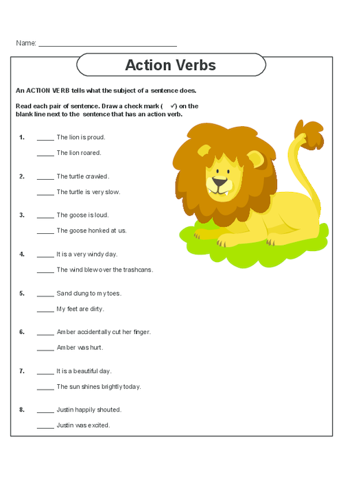 Action verbs in present tense worksheet cbyg – Action Words Worksheets for Kindergarten