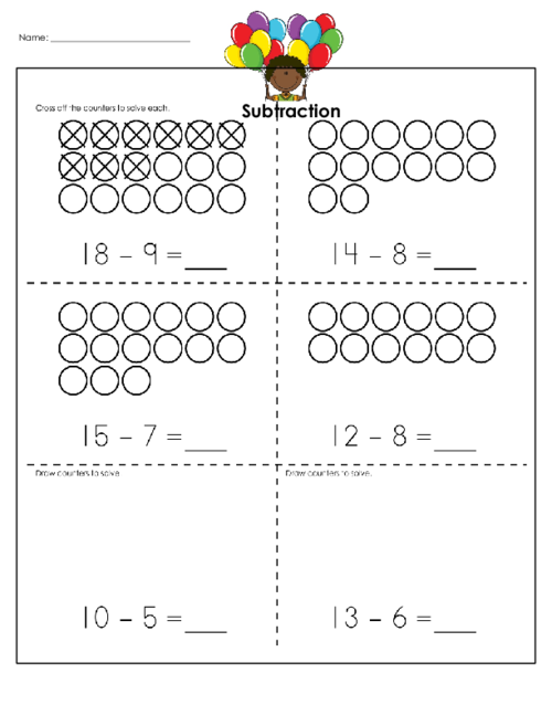 Subtraction Visual Practice 6 KidsPressMagazine – Visual Subtraction Worksheets