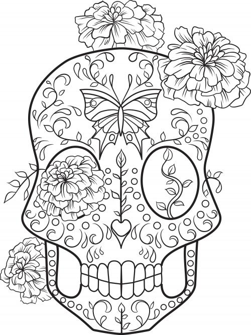 Sugar skull advanced coloring 2 for Dia de los muertos skull coloring page