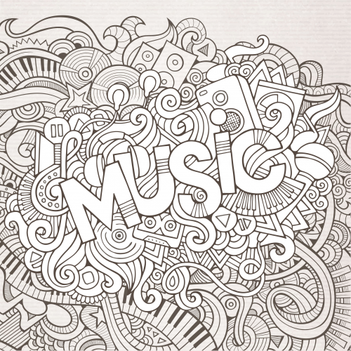 Music Black and White Doodle