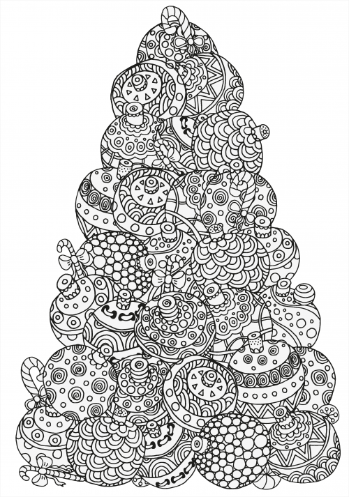 Advanced christmas coloring 3 for Adult christmas coloring pages