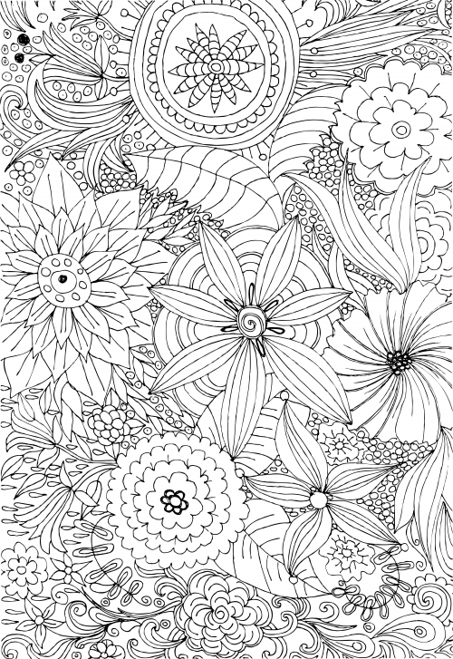 free advanced flower coloring pages - photo#13