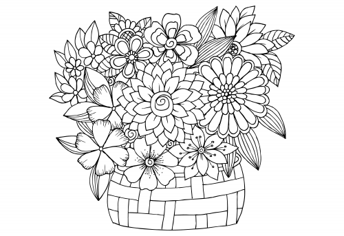 advanced coloring pages for kids - advanced flower coloring pages 4