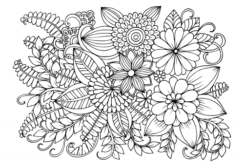 Flower Coloring Pages Detailed : Coloring Pages - Patinsudouest