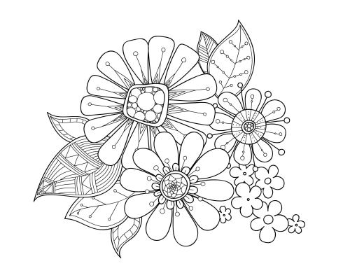 Advanced Pages Flowers Coloring Pages