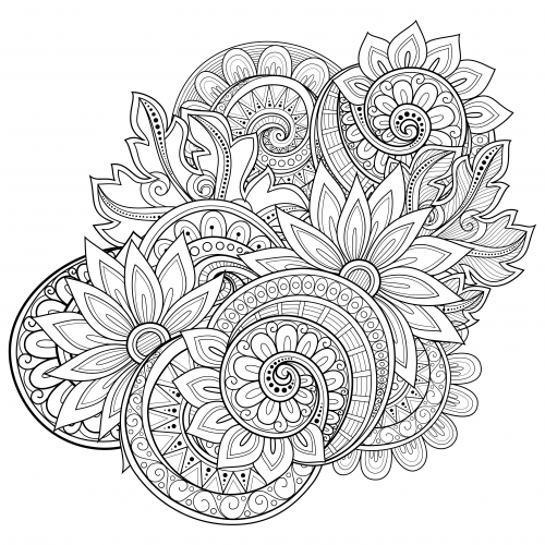 Flowers advanced coloring pages 17 for Flower adult coloring pages