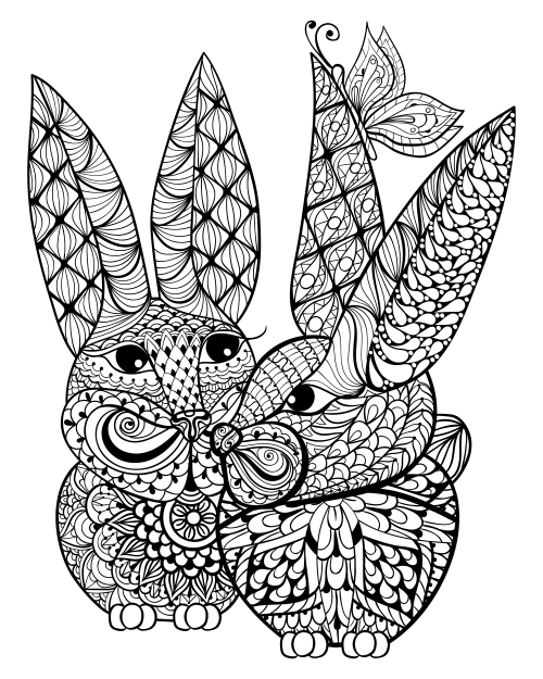 bunnies and a butterfly advanced coloring