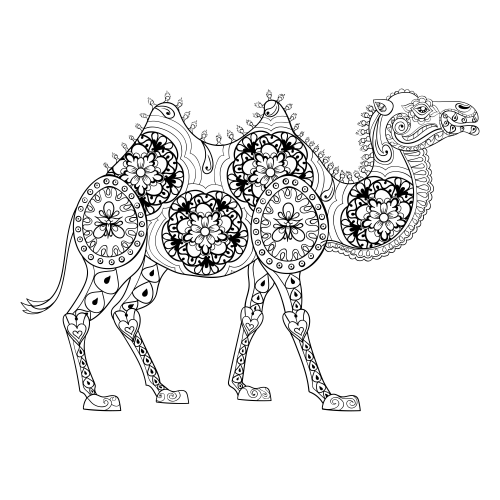 Therapeutic camel coloring page for Therapeutic coloring pages for children