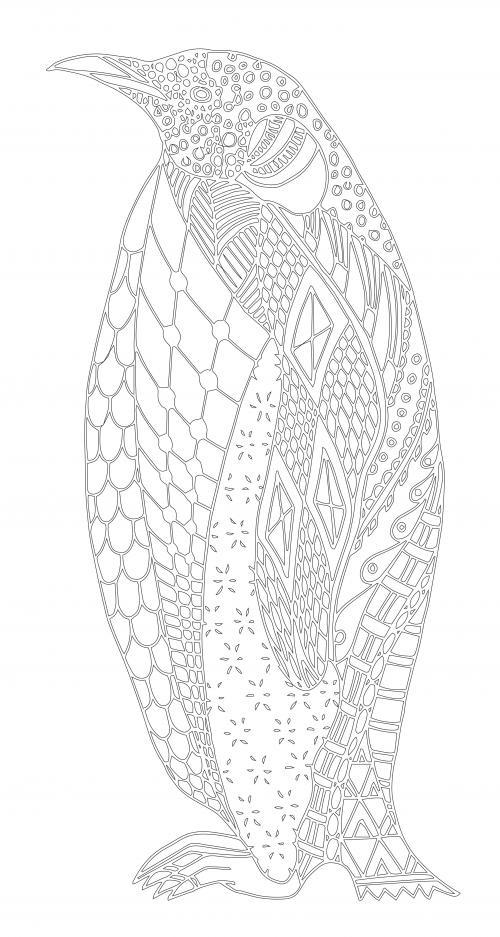 Adult Coloring Page Penguins