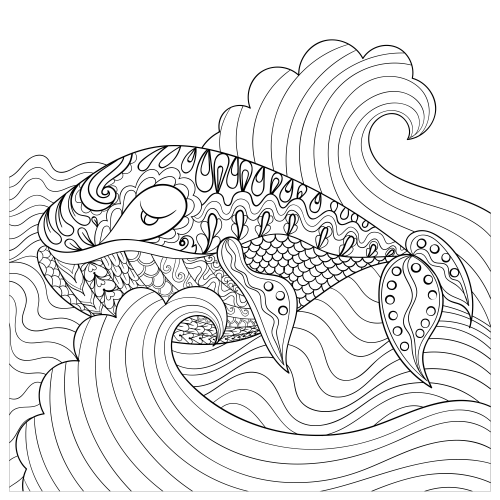 Hand Drawn Whale In The Waves Coloring Page ...