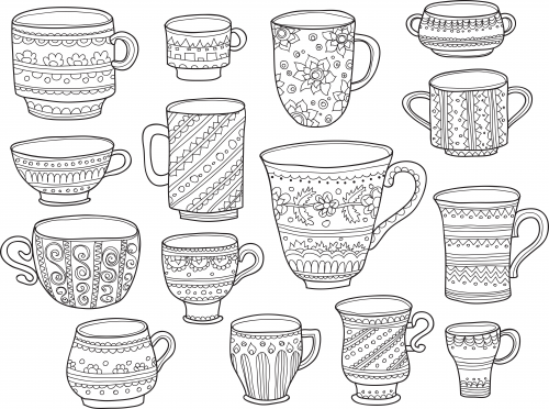 Christmas Coffee Cups Coloring Pages Coffee Cup Coloring Pages