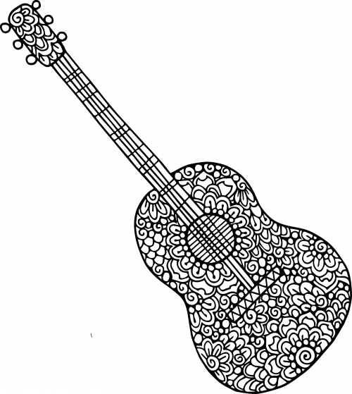 Guitar Doodle Coloring