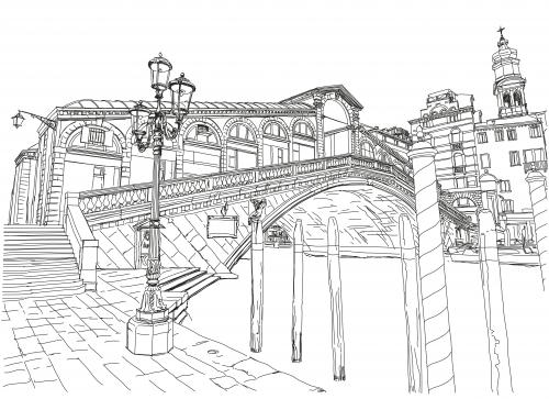 Line Drawing Venice : Rialto bridge coloring page kidspressmagazine