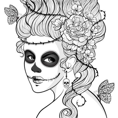 Day of the dead girl for Day of the dead color pages