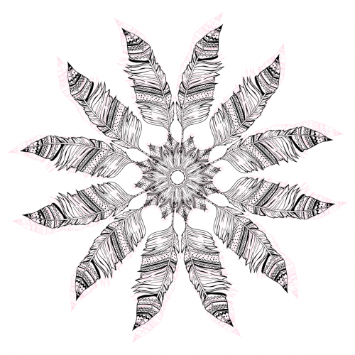 Feather circle coloring page for Coloring pages of feathers