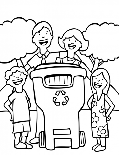 Family recycling on earth day for Recycling coloring pages