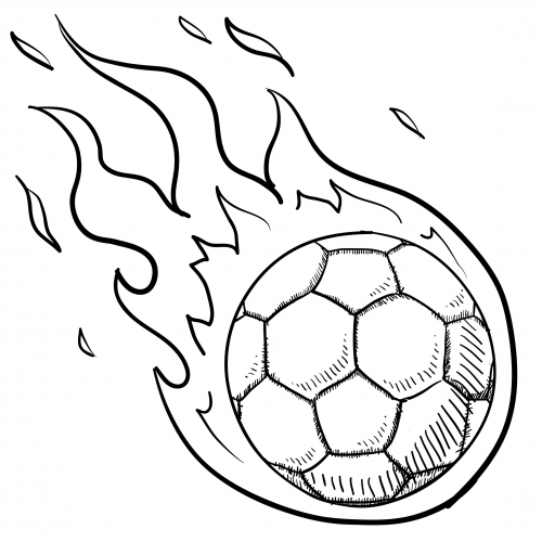 Soccer ball in flames for kids for Soccer coloring pages for kids