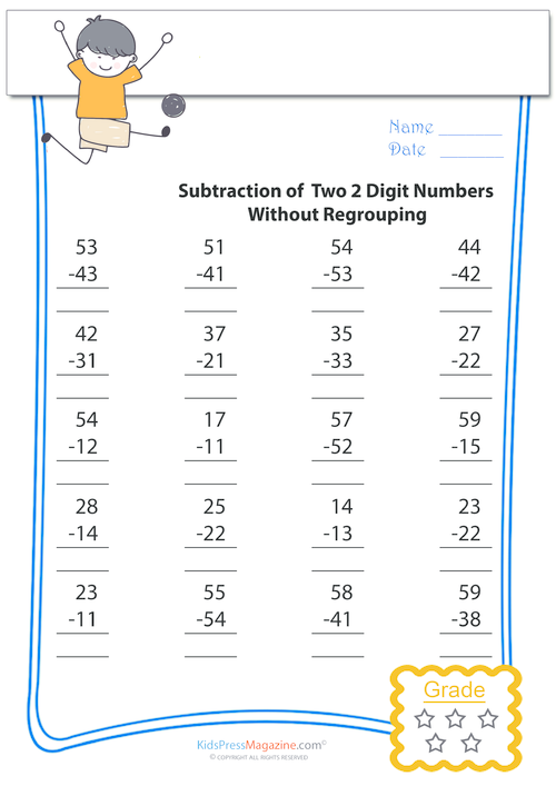 Subtract Without Regrouping – Two Digits #10 - KidsPressMagazine.com