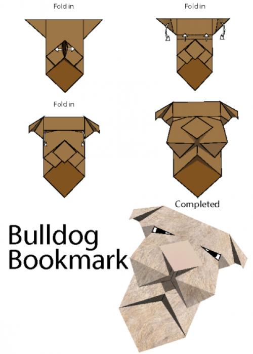 Origami bulldog bookmark - YouTube | 699x500