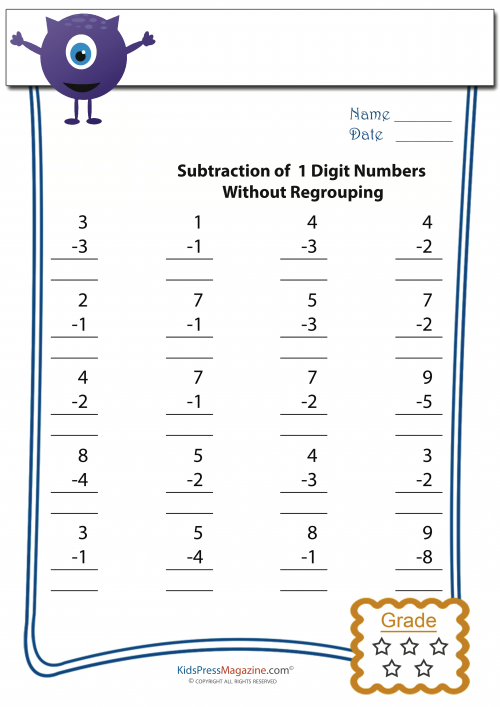 Easy Subtraction Worksheets 4   KidsPressMagazine.com