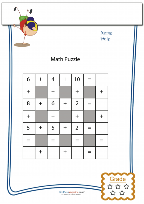 picture about Printable Maths Games and Puzzles named Addition Math Puzzle #2 -