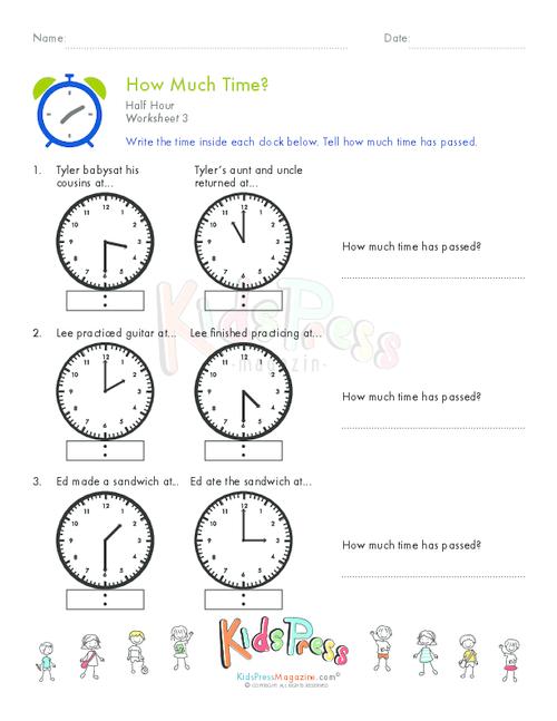 Telling Time Half Hour Worksheet # 8 - KidsPressMagazine.com