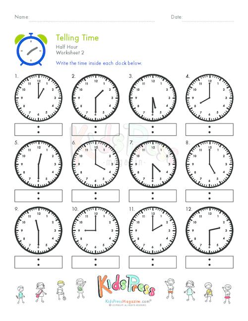 Telling Time Half Hour Worksheet 2 KidsPressMagazine – Time to the Half Hour Worksheets