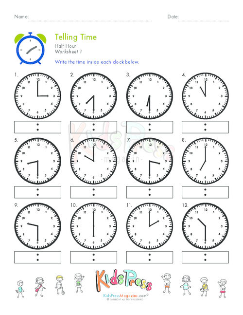 telling time to the half hour memory game