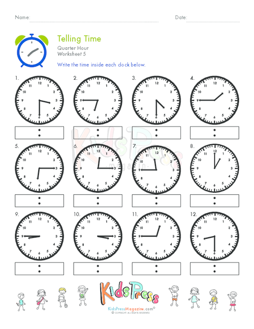 Telling Time Quarter Hour Worksheet #5 - KidsPressMagazine.com