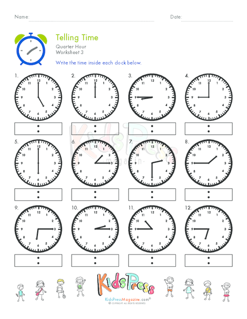 Telling Time Quarter Hour Worksheet 3 KidsPressMagazine – Telling Time to the Hour Worksheet