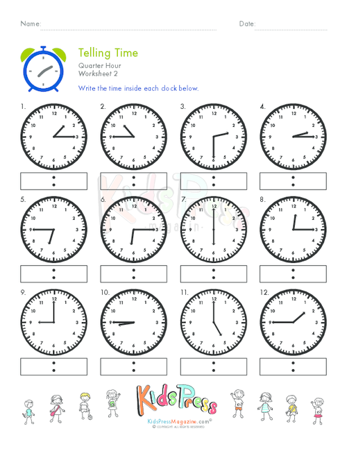 Telling Time Quarter Hour Worksheet #2 - KidsPressMagazine.com
