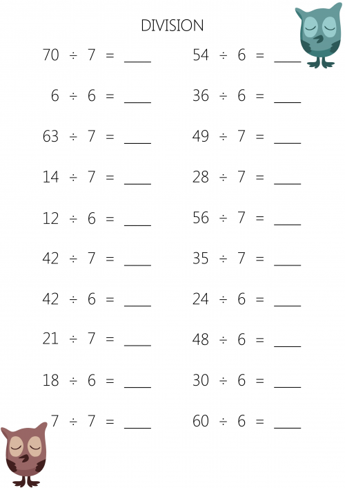 Number Names Worksheets division sums worksheet Division Sums – Division Worksheets for 3rd Grade