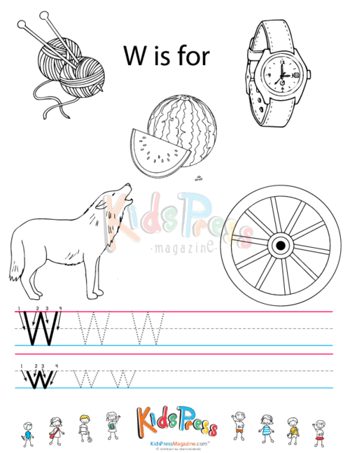 Alphabet Tracing Worksheet – W - KidsPressMagazine.com