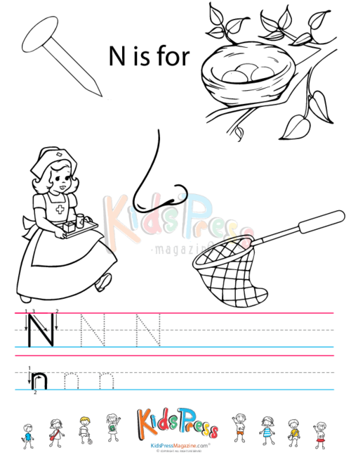 Alphabet Tracing Worksheet – N - KidsPressMagazine.com