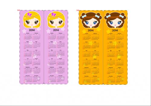 Calendar Bookmark : Calendar bookmark pink and yellow girls