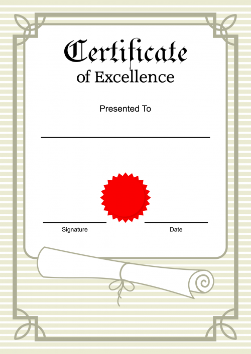 Printable Certificate of Excellence - KidsPressMagazine.com