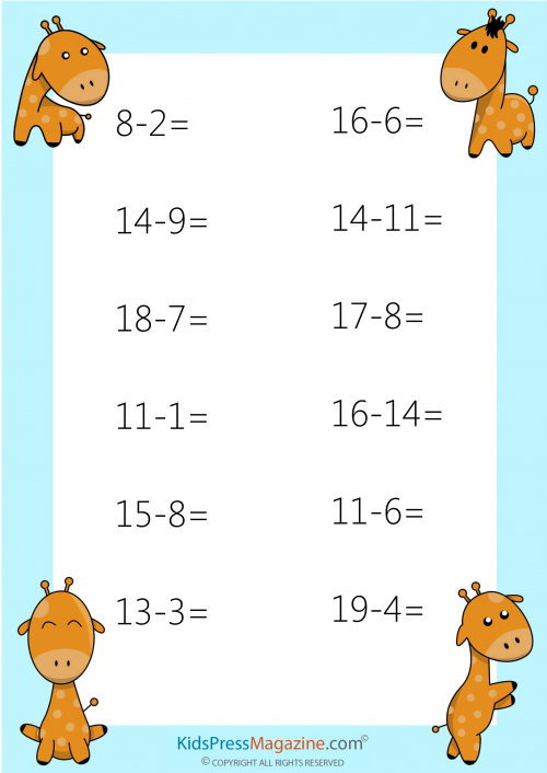 Timed subtraction worksheets for 1st grade
