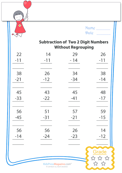 Two Digit Subtractions Without Regrouping 4